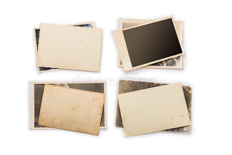 Inzameling van diverse oude foto's op witte achtergrond Elke is afzonderlijk ontsproten stock foto's