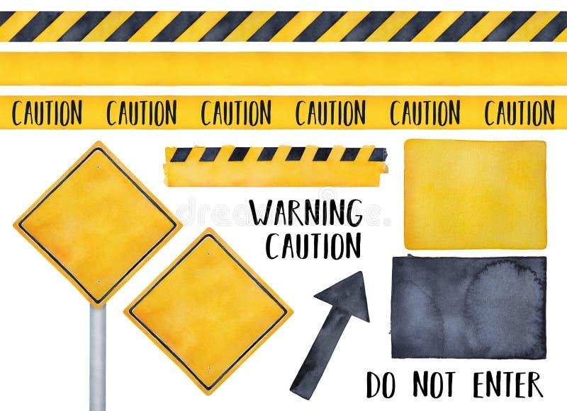Inzameling van diverse waarschuwingsborden, naadloze voorzichtigheidsbanden, sms-bericht en attensionsymbolen royalty-vrije illustratie