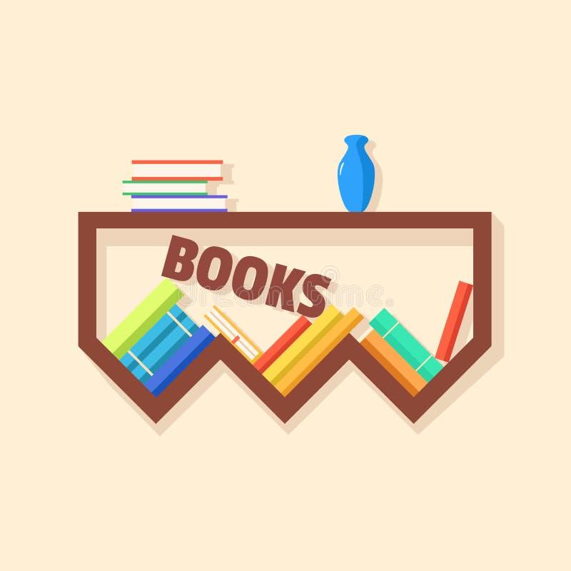 Inzameling van document boeken Houten Boekenrek Vector vlakke illustratie vector illustratie