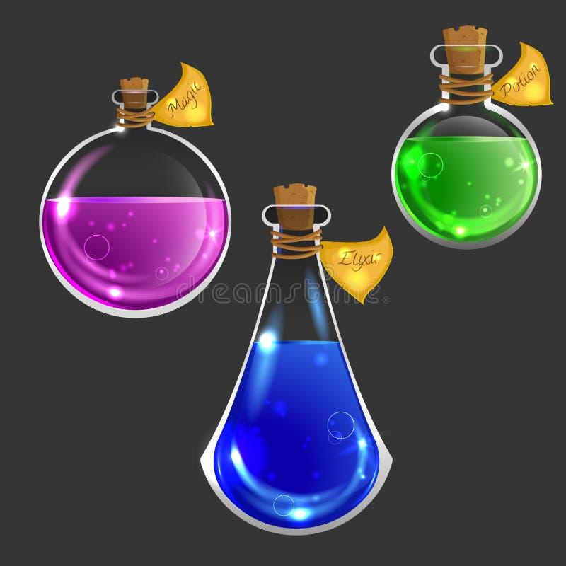 Inzameling van drie magische flessen stock illustratie