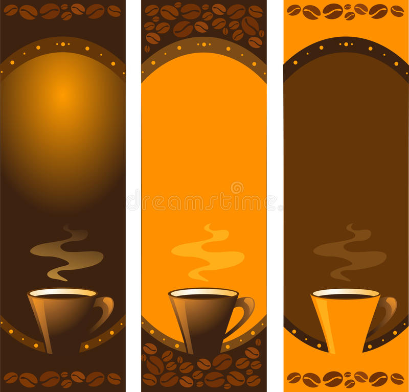 Inzameling van drie verticale koffiebanners royalty-vrije illustratie
