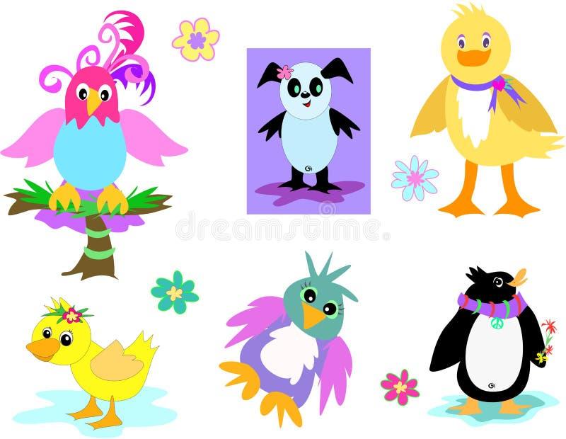 Inzameling van Eenden, Papegaaien, en Pinguïnen royalty-vrije illustratie