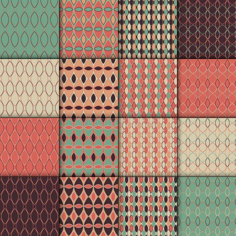 Inzameling van eenvoudige geometrische patroontexturen Reeks van 16 achtergronden De naadloze het herhalen retro reeks van de sti stock illustratie