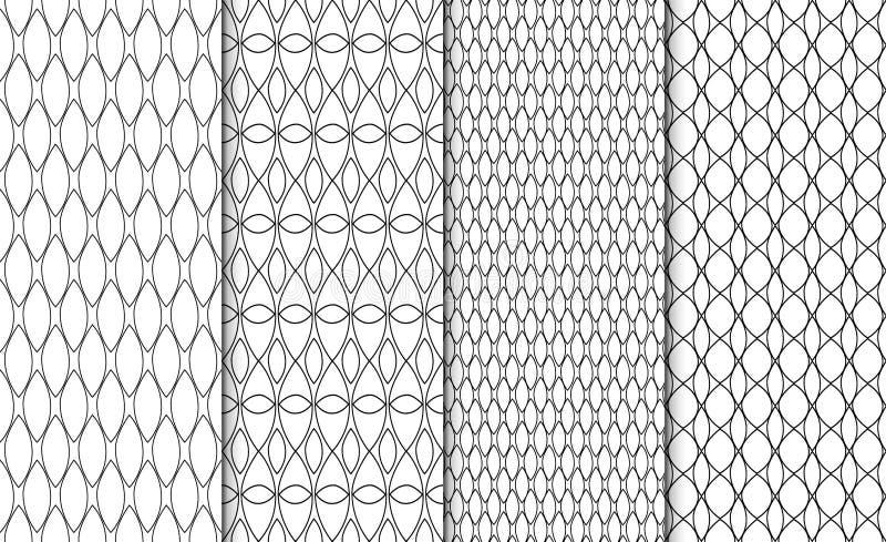 Inzameling van eenvoudige lineaire zwart-witte geometrische patroontexturen Reeks van 4 achtergronden Het naadloze retro herhalen royalty-vrije illustratie