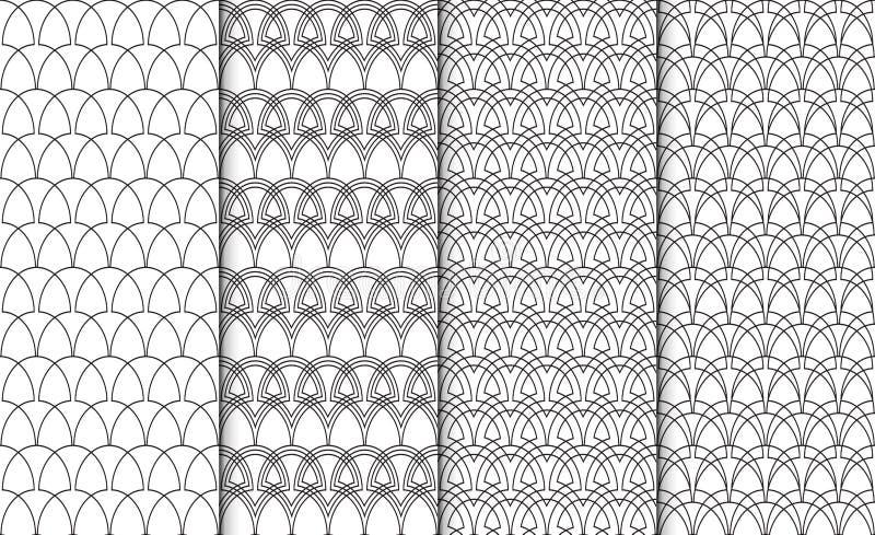 Inzameling van eenvoudige lineaire zwart-witte geometrische patroontexturen Reeks van 4 achtergronden Het naadloze retro herhalen vector illustratie
