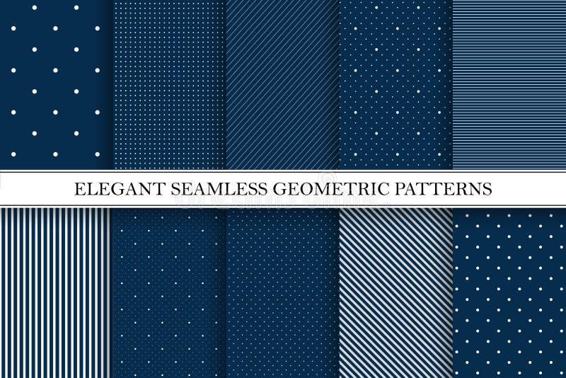 Inzameling van elegante vectorpatronen - naadloze gestippelde en gestreepte achtergronden vector illustratie