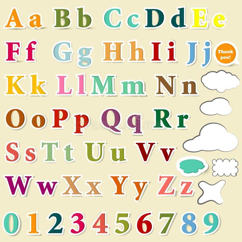 Inzameling van Engels brieven kleurrijk alfabet voor ontwerp royalty-vrije illustratie