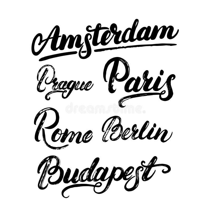 Inzameling van Europese kapitalen Amsterdam, Berlijn, Parijs, Rome, Praag, Boedapest stock illustratie
