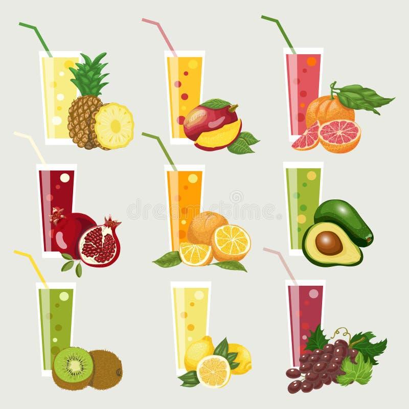 Inzameling van exotische vruchtensappen Vers organisch sap voor een gezonde levensstijl stock illustratie
