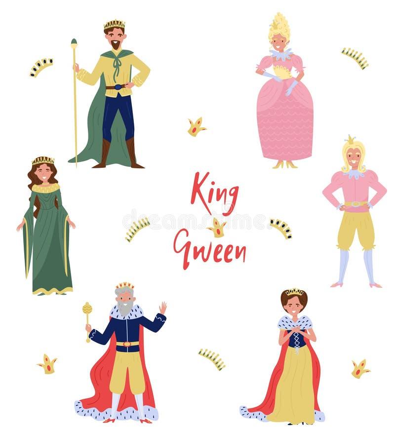 Inzameling van fairytalekarakters, koning, koningin, prins en prinses, personen in historische kostuums vectorillustratie stock illustratie