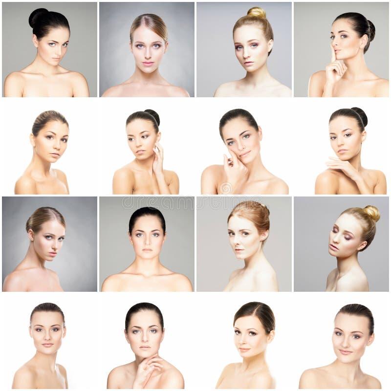 Inzameling van female spa portretten stock foto's