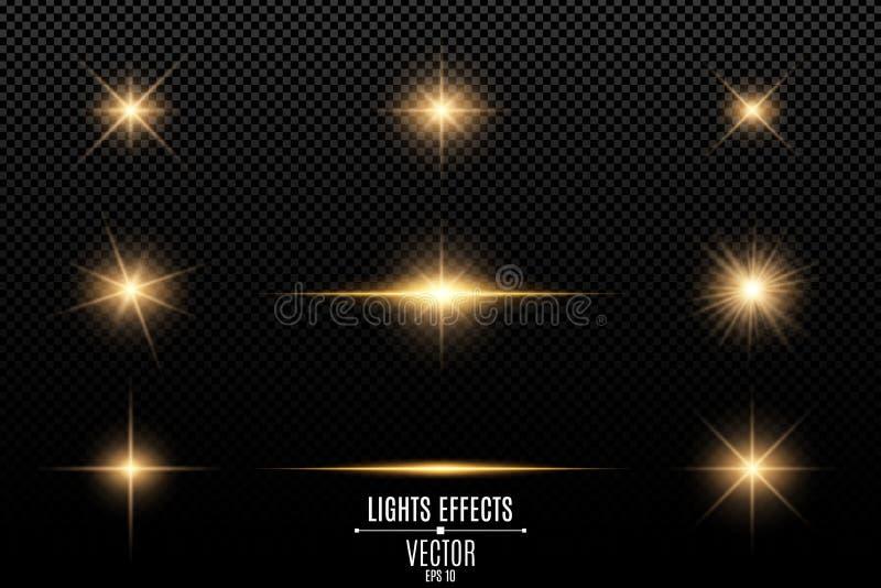 Inzameling van flitsen, lichten en vonken Abstracte gouden die lichten op een transparante achtergrond worden geïsoleerd Heldere  stock illustratie