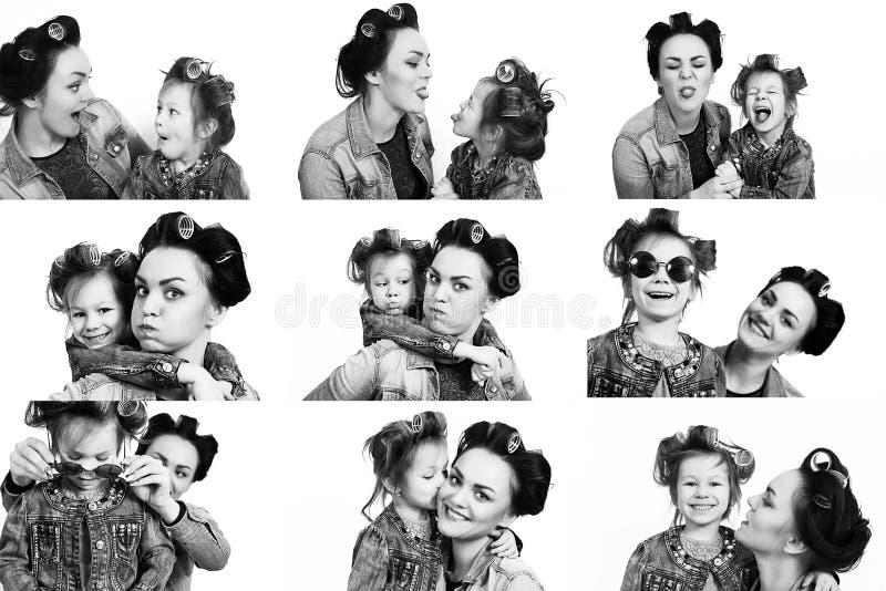 Inzameling van foto'smeisje en haar moeder in haarkrulspelden stock afbeeldingen