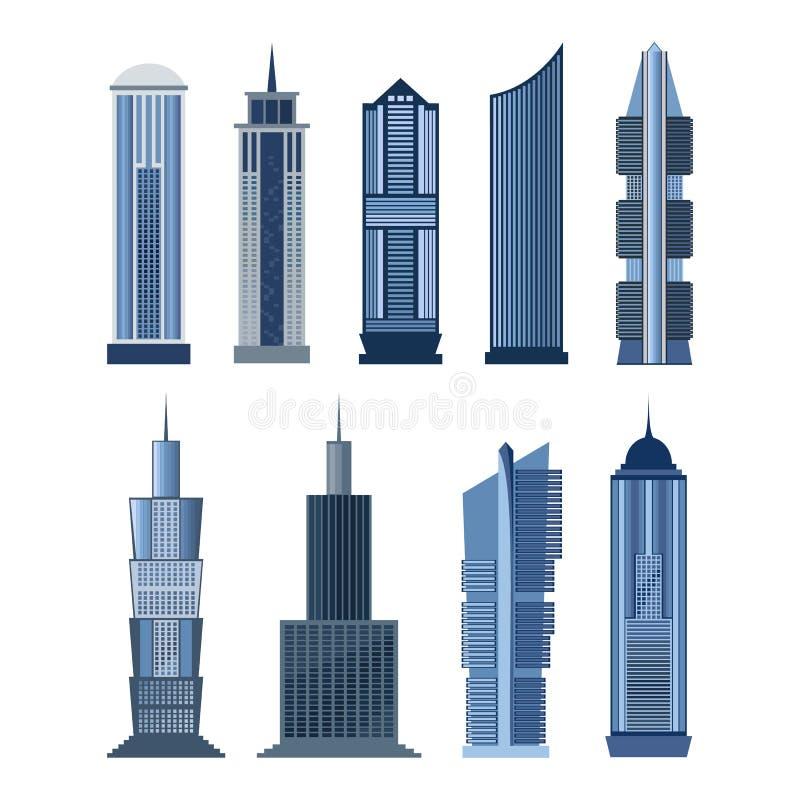 Inzameling van gebouwen voor stadsontwerp Vector vector illustratie