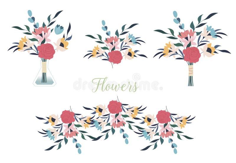 Inzameling van gedetailleerde tekeningen van in floristische bloemen en decoratieve bloeiende die installaties op witte achtergro royalty-vrije stock afbeeldingen