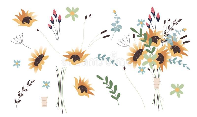 Inzameling van gedetailleerde tekeningen van in floristische bloemen en decoratieve bloeiende die installaties op witte achtergro royalty-vrije stock fotografie