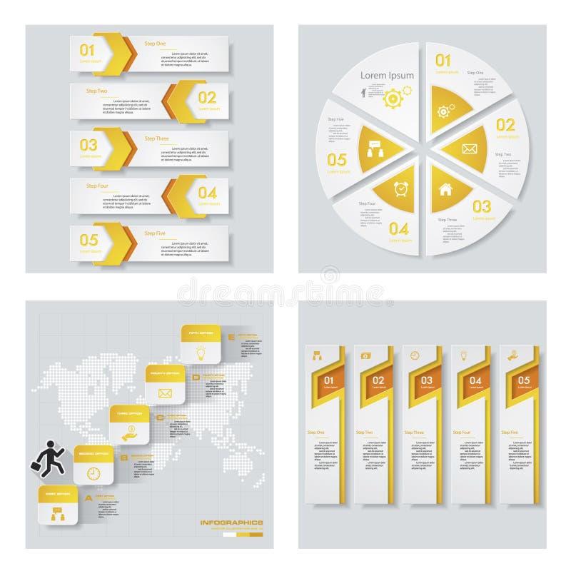 Inzameling van 4 geel kleurenmalplaatje/grafische of websitelay-out Het kan voor prestaties van het ontwerpwerk noodzakelijk zijn stock illustratie