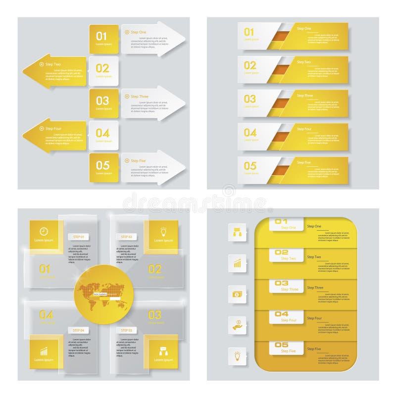 Inzameling van 4 geel kleurenmalplaatje/grafische of websitelay-out Het kan voor prestaties van het ontwerpwerk noodzakelijk zijn vector illustratie