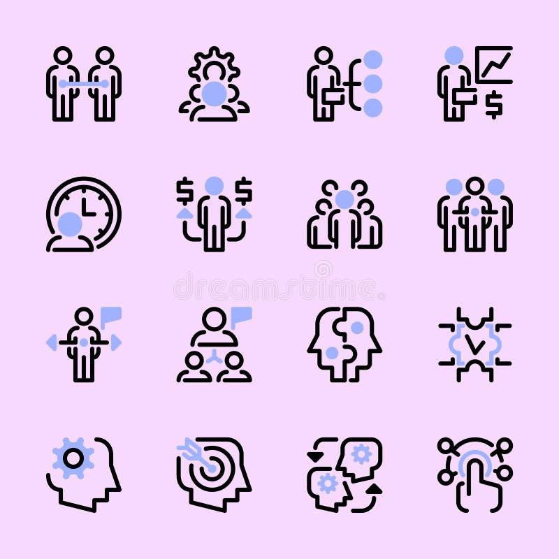Inzameling van gekleurde vlakke Webpictogrammen, symbolen, pictogrammen, lineaire illustraties op het onderwerp: het teamwerk, he royalty-vrije illustratie