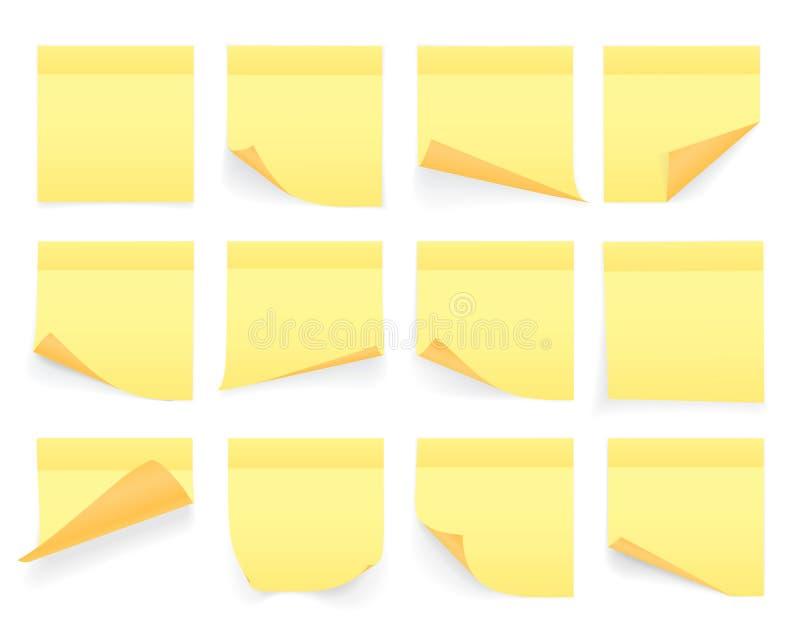 Inzameling van gele gekleurde bladen van notadocumenten met gekrulde hoek en schaduw, klaar voor uw bericht realistisch ge?soleer royalty-vrije illustratie