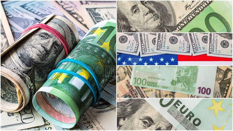 Inzameling van gemengde papiergeld, dollar en euro stock afbeeldingen