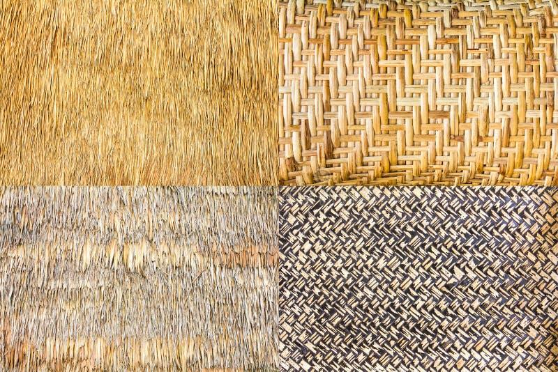 Inzameling van geweven bamboe stock afbeeldingen