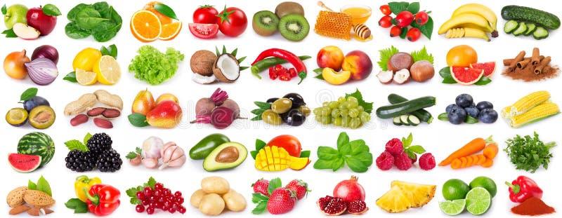 Inzameling van gezond voedsel op witte achtergrond royalty-vrije stock afbeeldingen