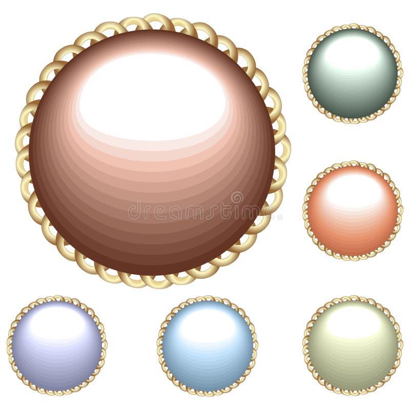 Inzameling van glanzende knopen vector illustratie