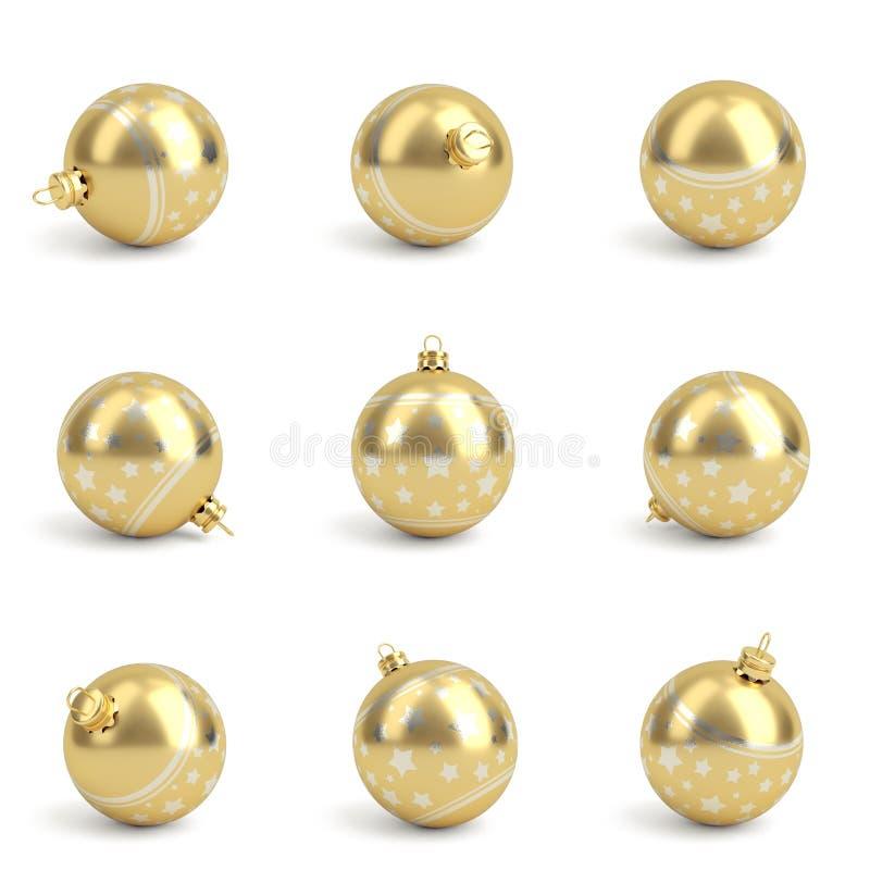 Inzameling van gouden Kerstmisballen Geïsoleerd wit 3d geef terug royalty-vrije illustratie