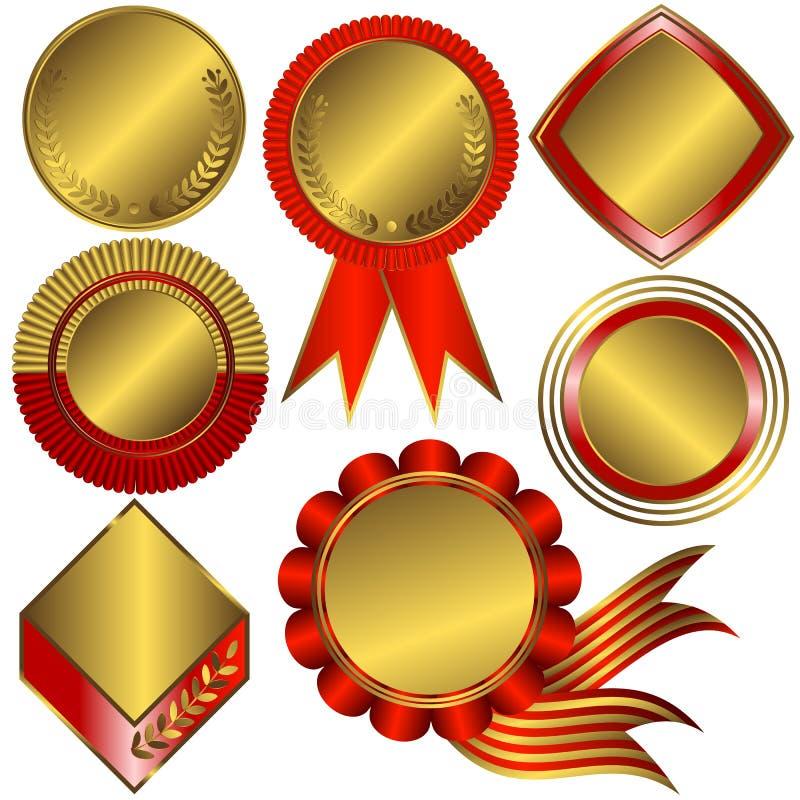 Inzameling van gouden medailles en tellers (vector) stock illustratie