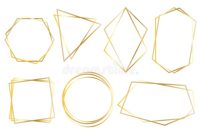 Inzameling van gouden veelhoekige luxekaders stock illustratie