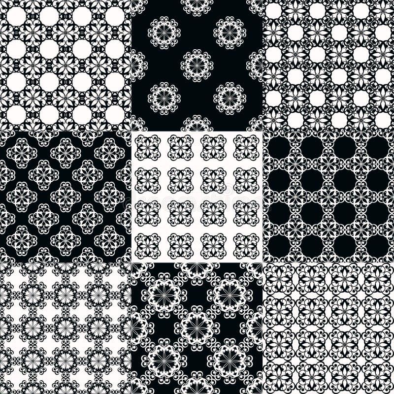 Inzameling van grafische vector naadloze patronen royalty-vrije illustratie