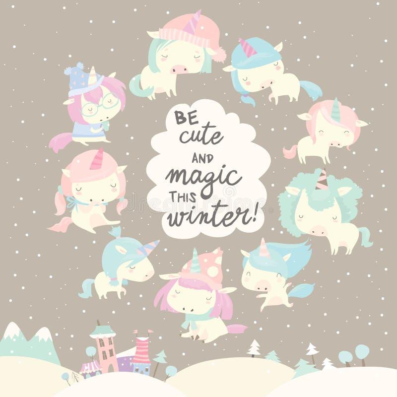 Inzameling van grappige eenhoorn op grijze de winterachtergrond stock illustratie