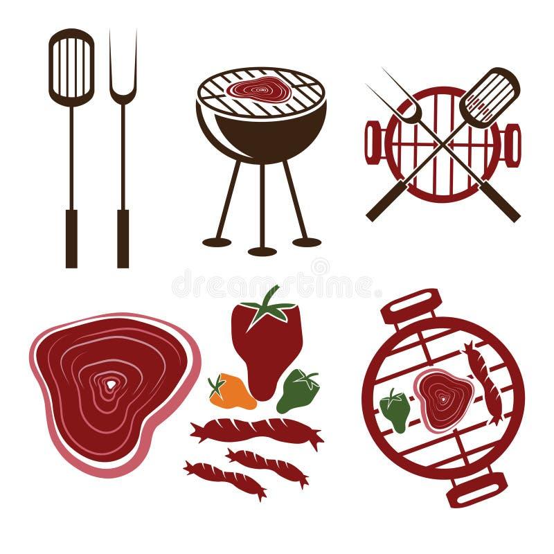 inzameling van grill de vectoretiketten stock illustratie