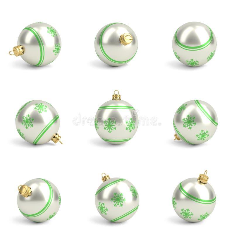 Inzameling van groene Kerstmisballen wit 3d geef terug royalty-vrije illustratie