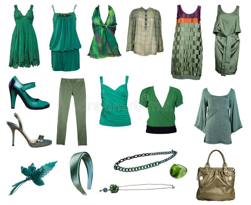Inzameling van groene kleren en toebehoren stock fotografie