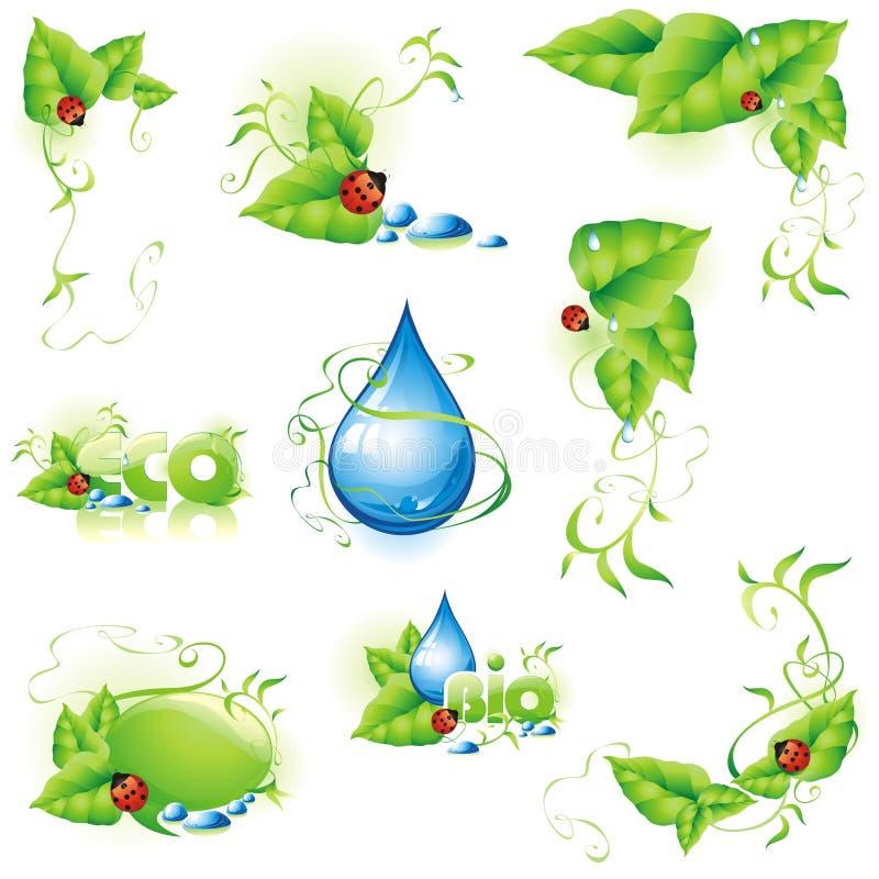 Inzameling van groene ontwerpelementen. vector illustratie