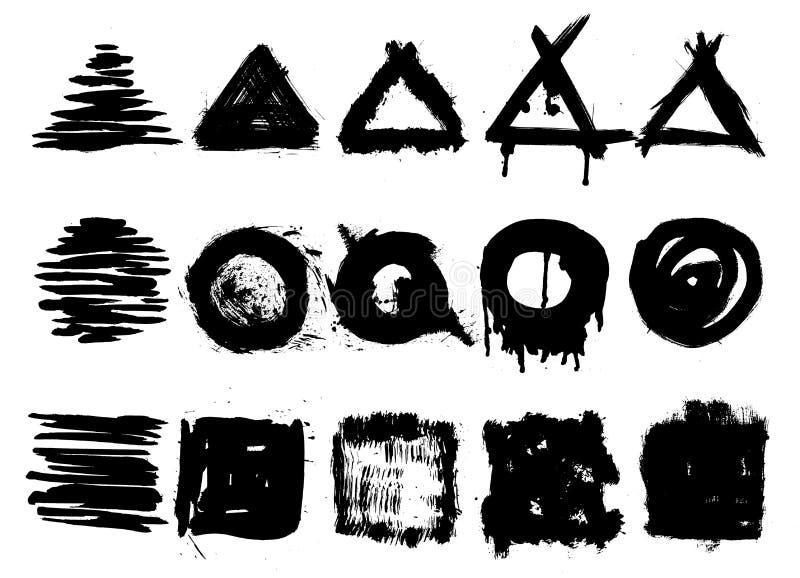 Inzameling van grunge handrawn zegels stock illustratie