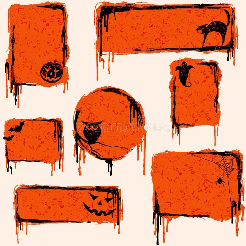 Inzameling van grungy Halloween ontwerpelementen vector illustratie