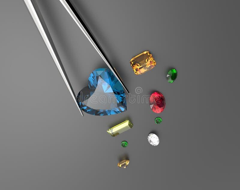 Inzameling van halfedelstenen 3D Illustratie stock illustratie