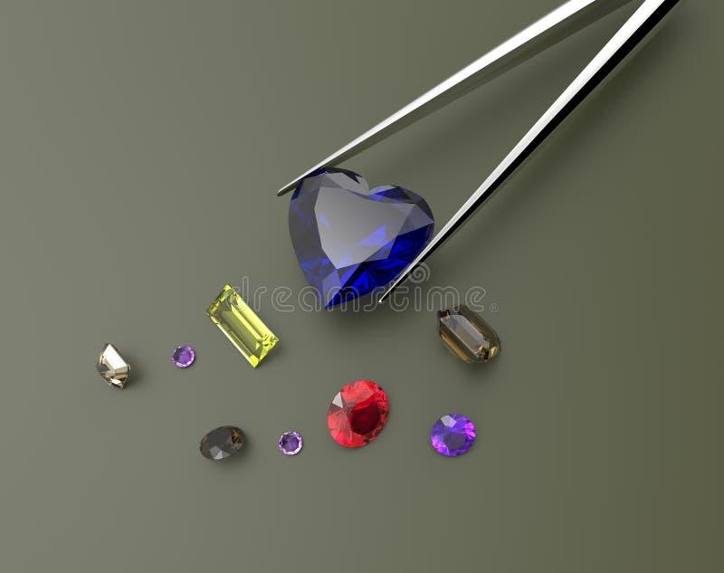 Inzameling van halfedelstenen 3D Illustratie royalty-vrije stock afbeelding