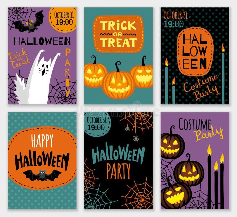 Inzameling van Halloween-bannermalplaatjes stock illustratie