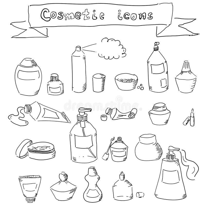 Inzameling van hand-drawn kosmetische containers stock illustratie