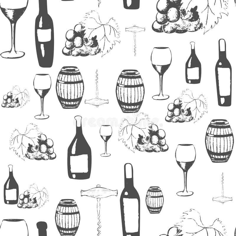 Inzameling van hand-drawn wijnen Naadloze achtergrond met wijnflessen, wijnglazen, wijnvat, kurketrekker en druiven Zieke vector royalty-vrije illustratie