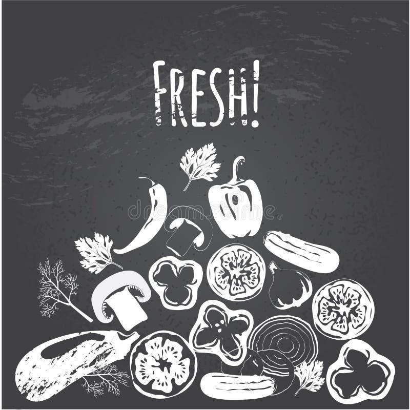 Inzameling van hand getrokken groenten op bord royalty-vrije illustratie