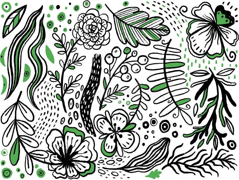 Inzameling van hand getrokken handbloemen en installaties Zwart-wit vectorillustraties in schetsstijl Stylizationfantasie stock illustratie