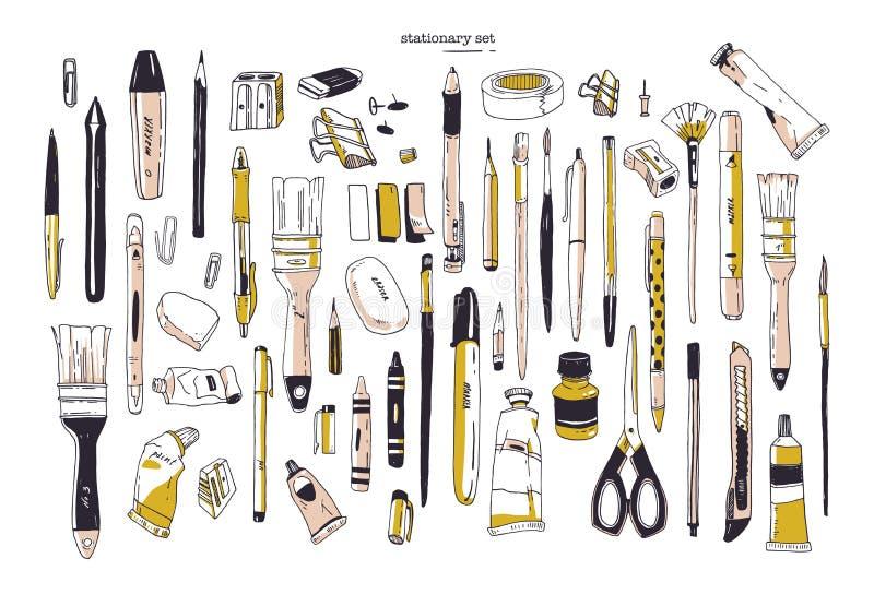 Inzameling van hand getrokken kantoorbehoeften of het schrijven werktuigen Reeks bureau en kunstlevering op witte achtergrond wor vector illustratie