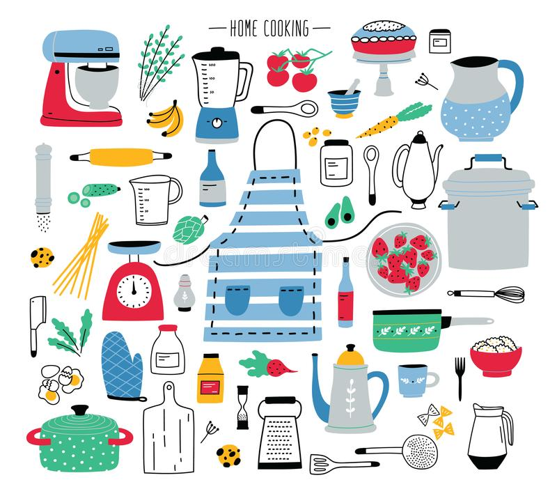 Inzameling van hand getrokken keukengerei, handboek en elektrische gereedschappen voor huis het koken, cookware, voedselingrediën stock illustratie