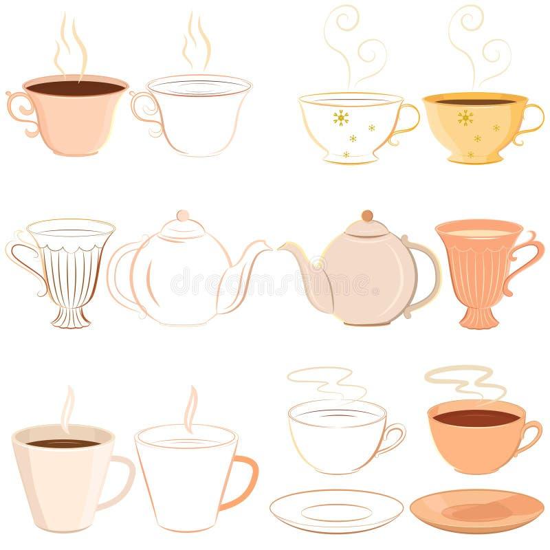 Inzameling van hand getrokken theekopjes vector illustratie