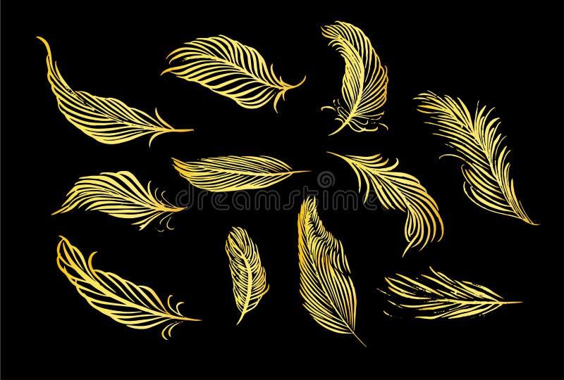 Inzameling van Hand Getrokken Veer Reeks decoratieve dierenvogelveren Hand getrokken vectorart. Gouden de inktillustratie van de  stock illustratie